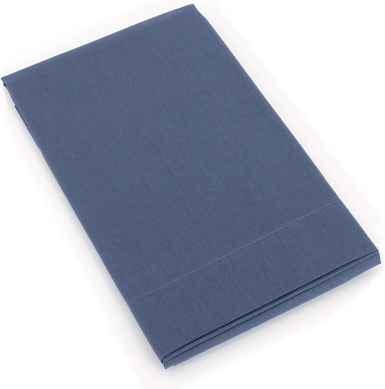 Linnea Taie de traversin uni 140x43 cm 100/% Coton Alto Bleu Jean