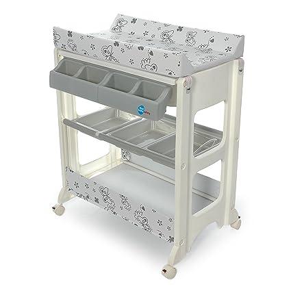 Table à Langer Avec Baignoire Papillon Gris First Baby Safety