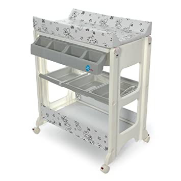 Table A Langer Avec Baignoire Papillon Gris First Baby Safety