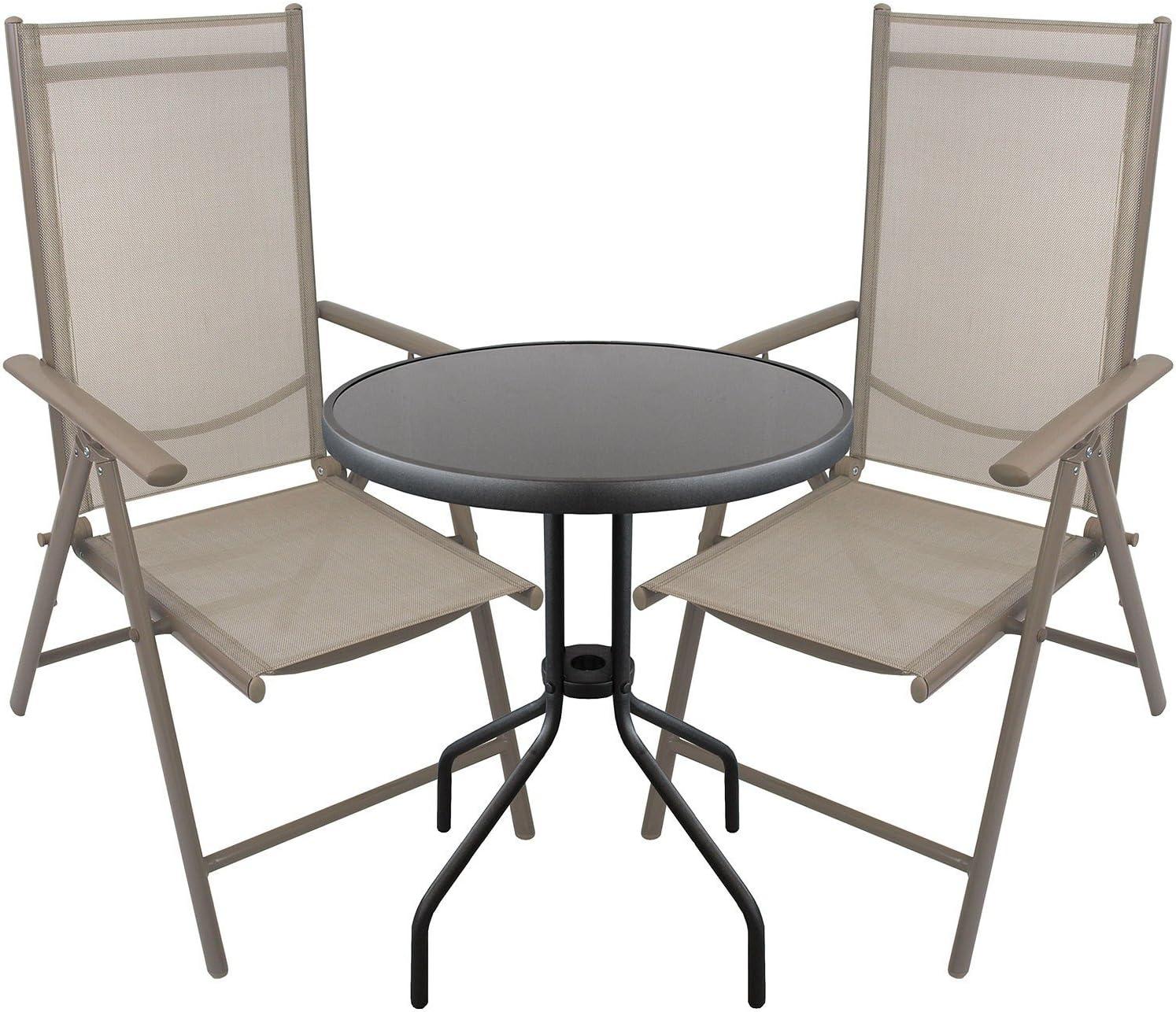 Multistore 2002 3tlg. Bistrogarnitur Glastisch rund Ø60cm + 2X Aluminium Hochlehner mit Textilenbespannung Lehne in 7 Positionen verstellbar Sitzgruppe Sitzgarnitur