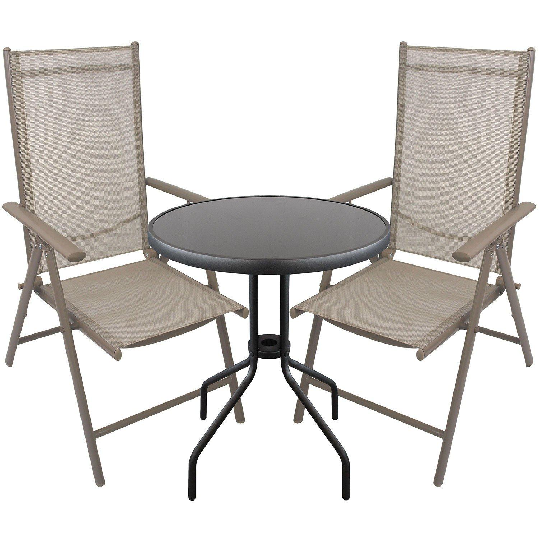3tlg. Bistrogarnitur Glastisch rund Ø60cm + 2x Aluminium Hochlehner mit Textilenbespannung Lehne in 7 Positionen verstellbar Sitzgruppe Sitzgarnitur