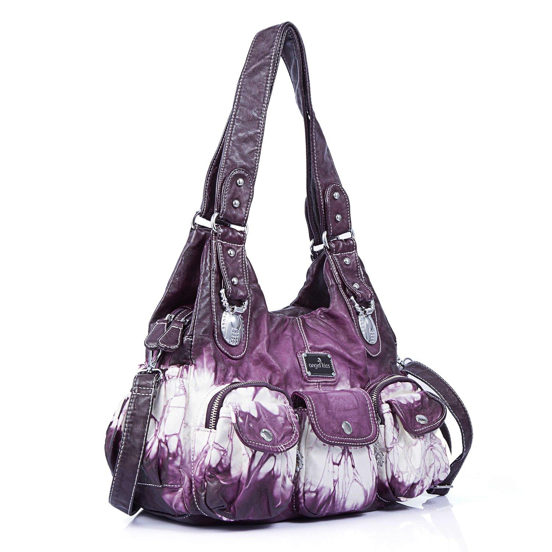 Handbag Hobo Women Handbag Roomy Multiple Pockets Street ladies' Shoulder Bag Fashion PU Tote Satchel Bag for Women (W7127Z Pureple) by Angel Kiss (Image #3)