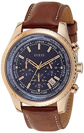 GUESS Mens W0500G1 Honey Brown Chronograph Watch with Blue Dial & Date Function