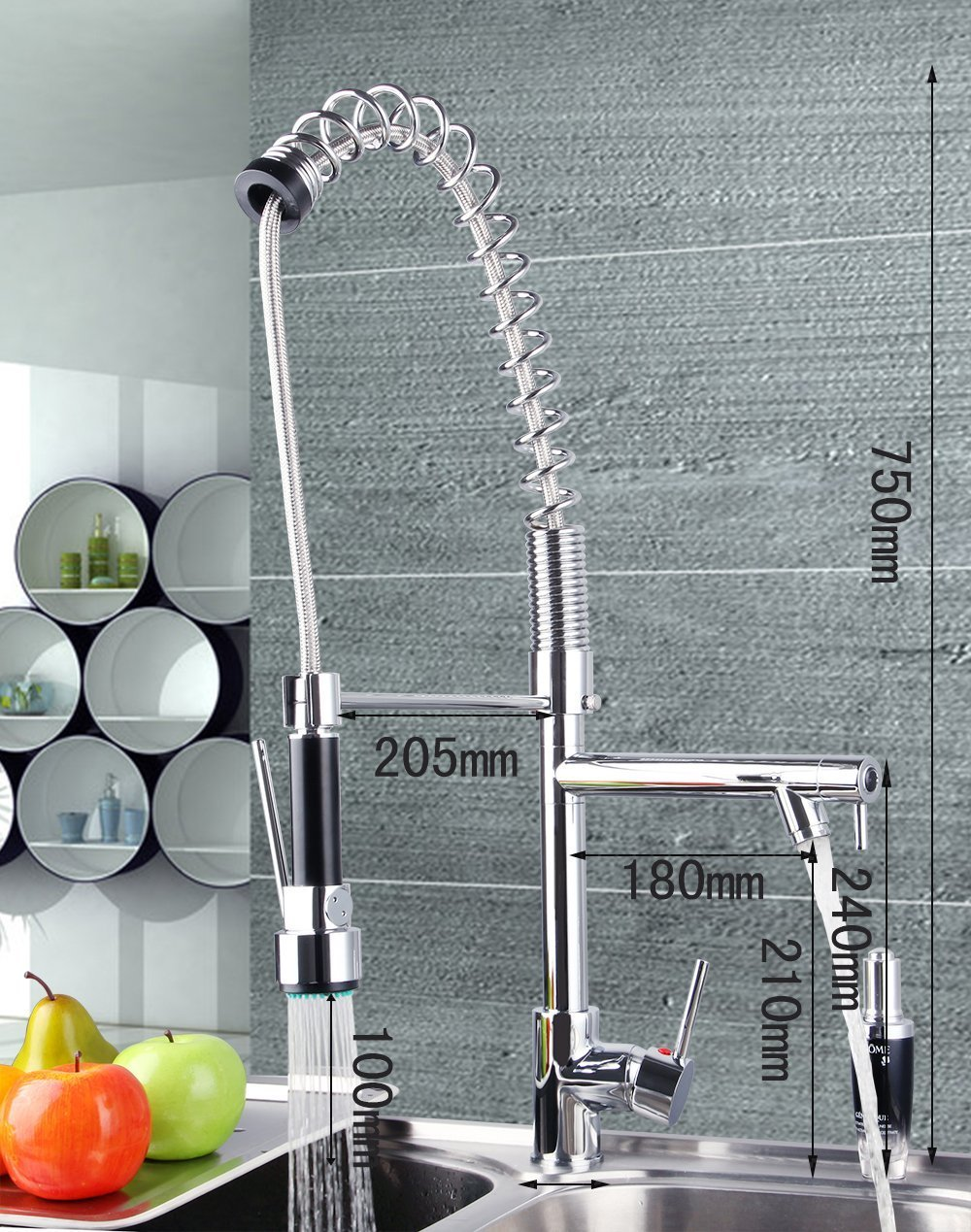Contemporary Pull Down Kitchen Sink Faucet Pull Out Spray with Lock Sprayer Swivel Spout Brass Mixer Tap Chrome US Shipping