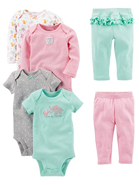 Simple Joys By Carter S Baby Girls 6 Piece Bodysuits Short And Long Sleeve And Pants Set