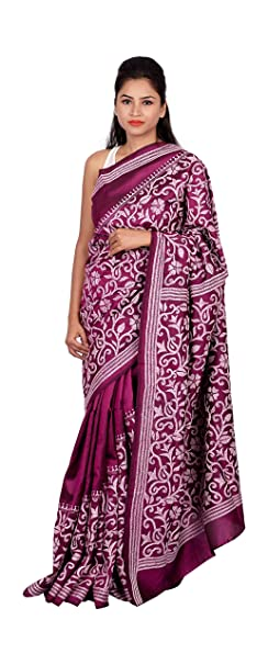 abaecc821e6 Image Unavailable. Image not available for. Colour  RIAA COLLECTION Women s  Ethnic Traditional Kantha Stitched Hand embroidery Pure Silk Saree ...