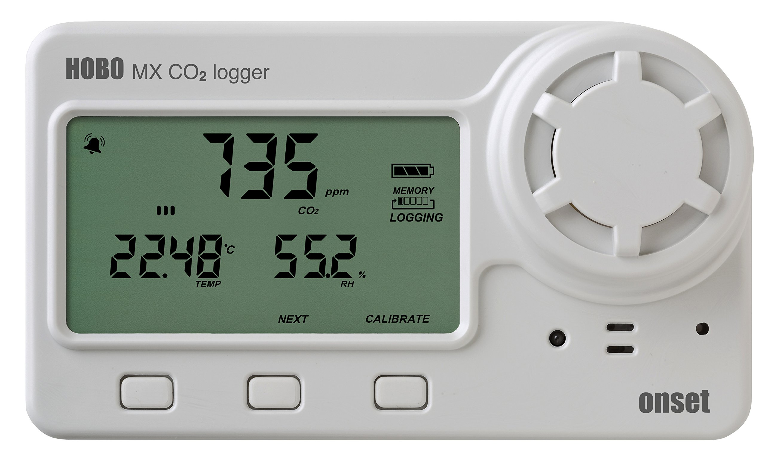 MX1102 HOBO Indoor Air Quality Logger. Monitor, Alarm, and Graph Carbon Dioxide/Temp/Humidity in home, office, museum, school, hospital, lab. Download data wirelessly within 100 ft.
