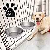 PETMAKER Stainless-Steel Hanging Pet Bowls for Dogs & Cats-Cage, Kennel, Crate Large Feeder Dishes for Food & Water-Set…
