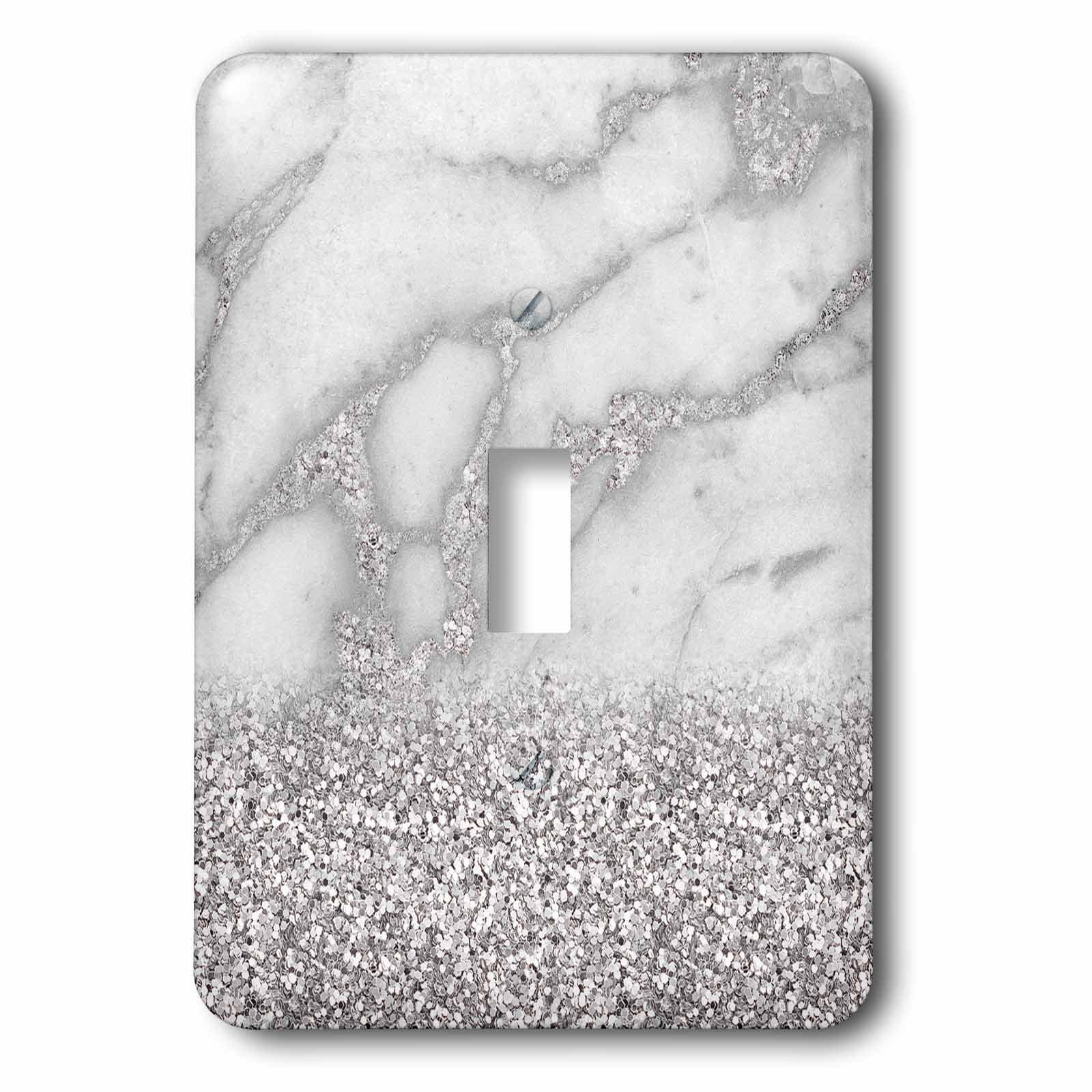 3dRose (lsp_268850_1) Single Toggle Switch (1) Luxury Grey Silver Gem Stone Marble Glitter Metallic Faux Print