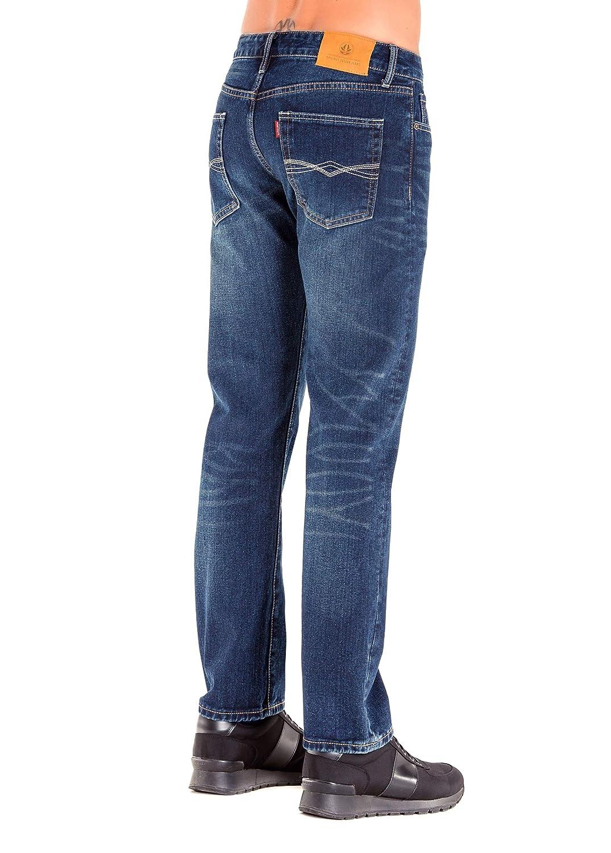 HONTOUTE Mens Plus Size Casual Loose Denim Pants Big and Tall Mid Waist Straight Leg Jeans Pants