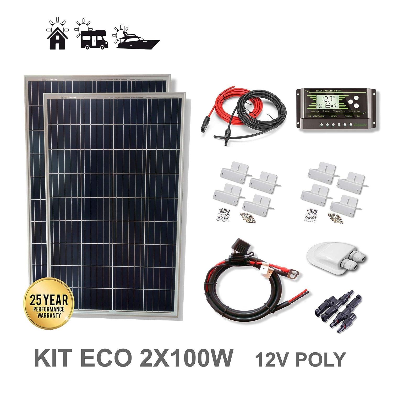 VIASOLAR Kit 200W Eco 12V Panel Solar 2X100W: Amazon.es: Amazon.es