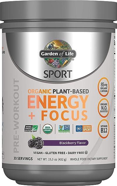 Garden of Life SPORT Organic Plant-Based Energy + Focus Pre Workout Powder