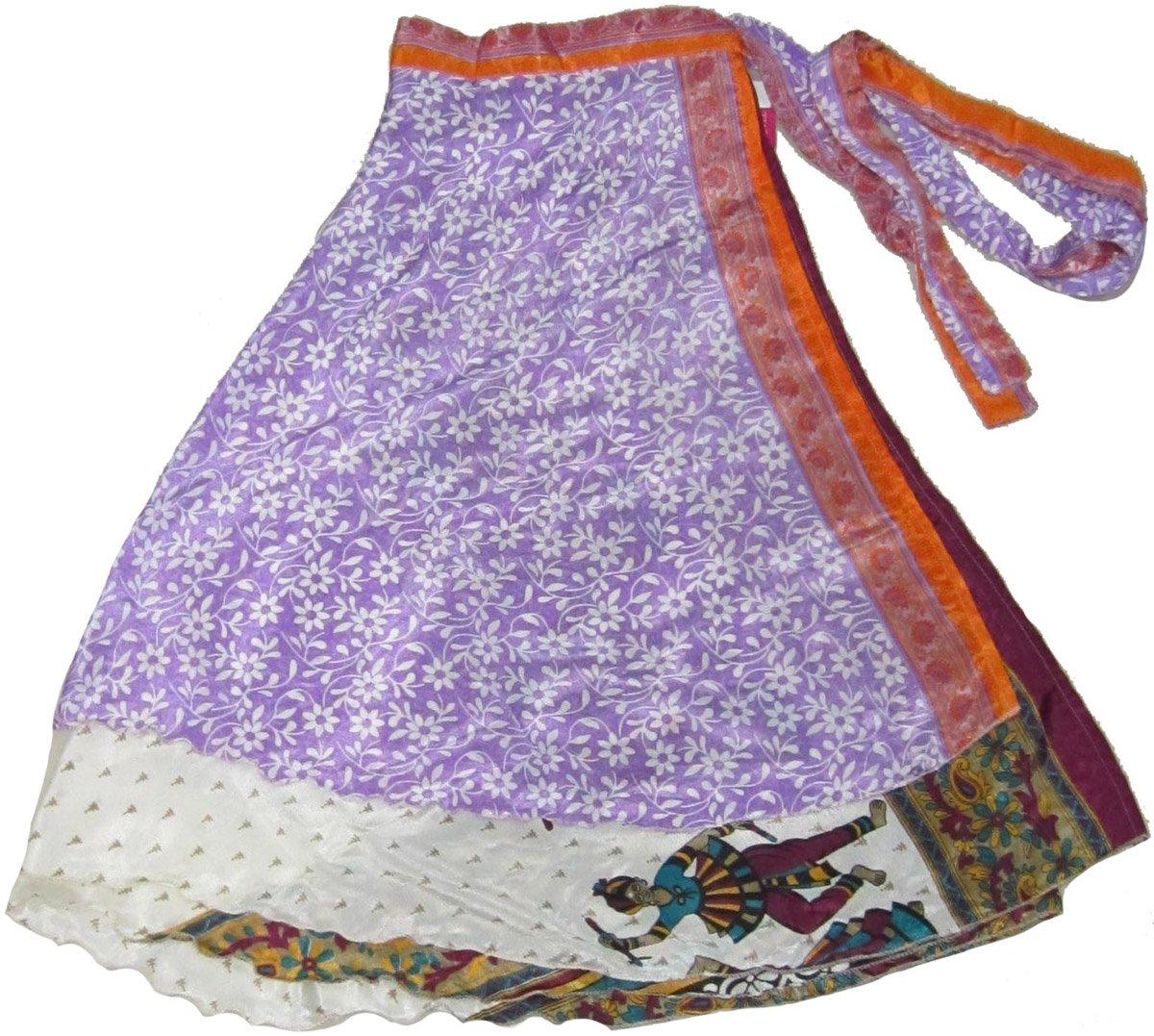 Wevez Indian Reversible Magic Sari Art Silk Wrap Around Skirt, Assorted Colors, One Size