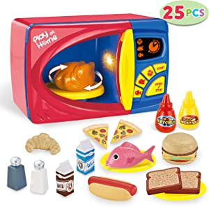 JOYIN 25 Piece Microwave Cooking Play Food Kitchen Pretend Play Accessory Food Playset, Kitchen Accessories Fake Food