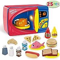 JOYIN 25 Pieces Microwave Cooking Kitchen Food Pretend Play Toy Playset, Play Food Kitchen Playset Accessories Fake Food
