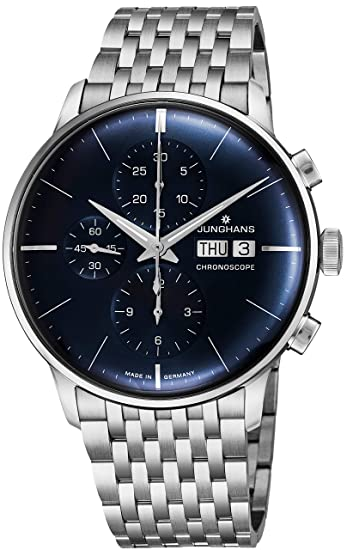 Junghans Reloj Meister Chronoscope Sunray Azul Dial día Fecha Acero Pulsera 027/4528.45: Junghans: Amazon.es: Relojes