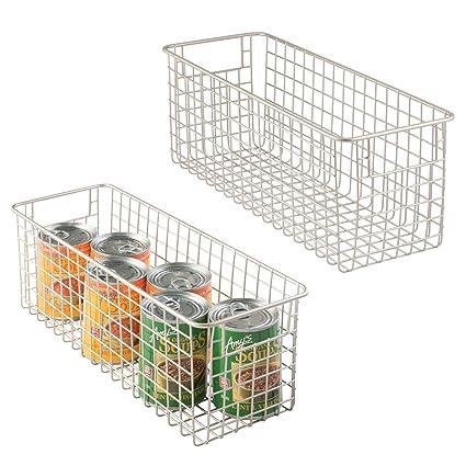 mDesign Juego de 2 cestas de almacenaje multiuso – Cestas organizadoras grandes con asas – Cestas