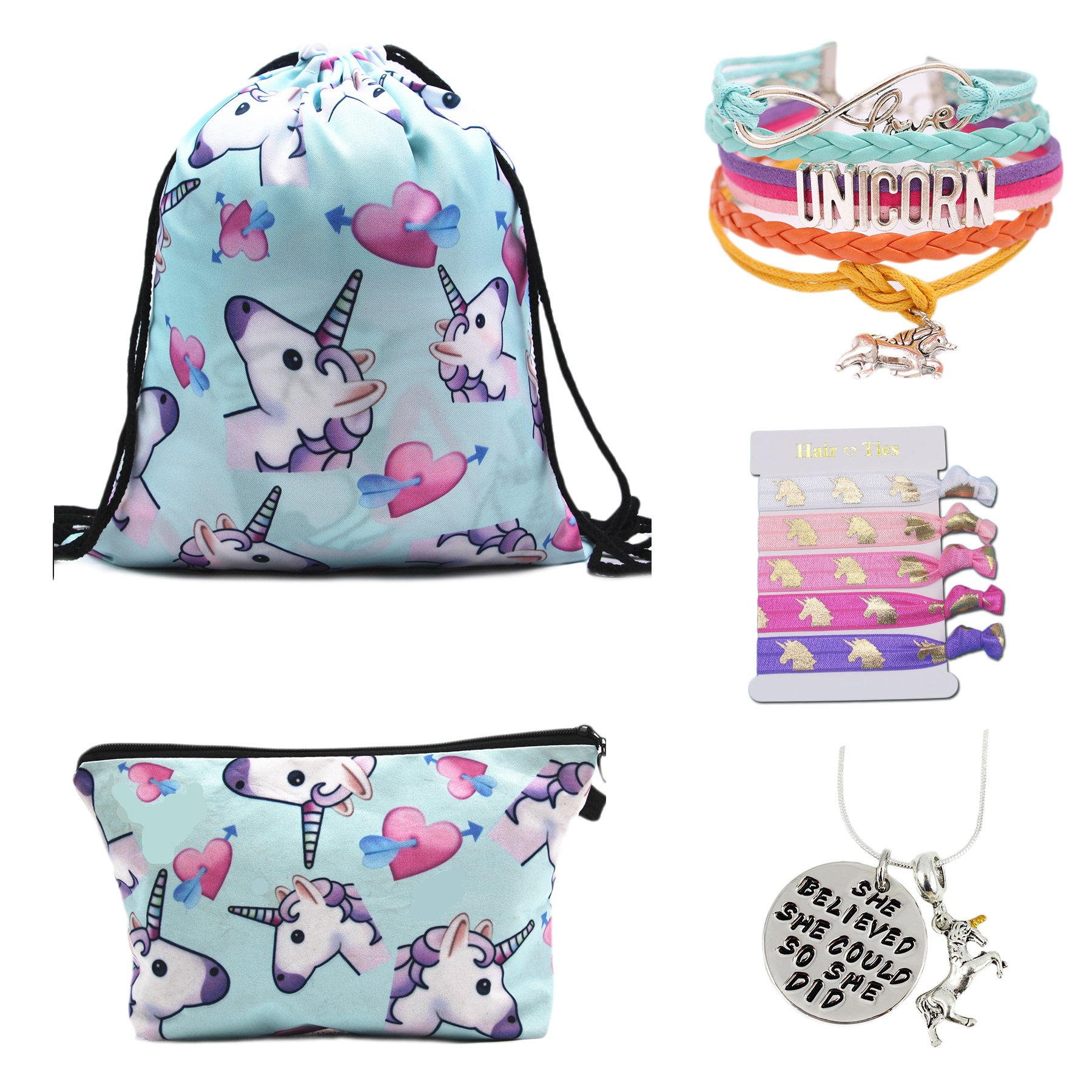 Unicorn Gifts for Girls - Unicorn Drawstring Backpack/Makeup Bag/Bracelet/Inspirational Necklace/Hair Ties (New Blue)