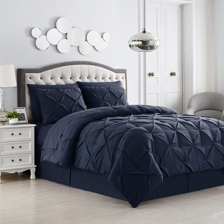 Sweet Home Collection 8 Piece Comforter Set Bag Design, Bed Sheets, 2 Pillowcases, & 2 Shams Down Alternative All Season Warmth, Queen, Pintuck Navy