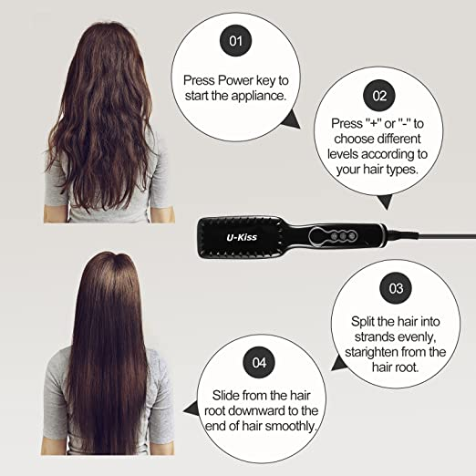 Amazon.com : Hair Straightening Brush, U-Kiss PTC Quick Heated Ceramic Straightener Comb with Adjustable Temperature and LCD Display, Fast Natural Straight ...