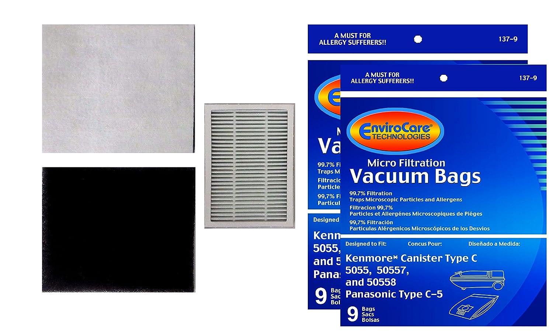 18 Envirocare Kenmore Type C Canister Vacuum Bags (&2 CF1 filters & 1 EF2 filter)