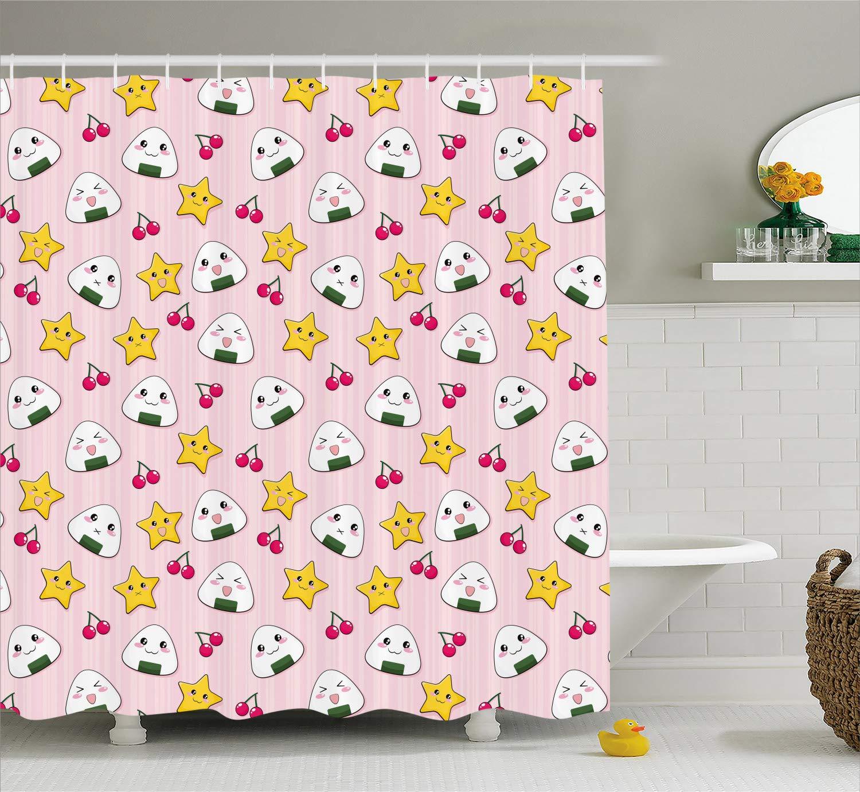 Ambesonne Japan Shower Curtain Cute Japanese Food Icons Rice Ball Cherries Asian Kawaii Anime Pattern Design Fabric Bathroom Decor Set With Hooks