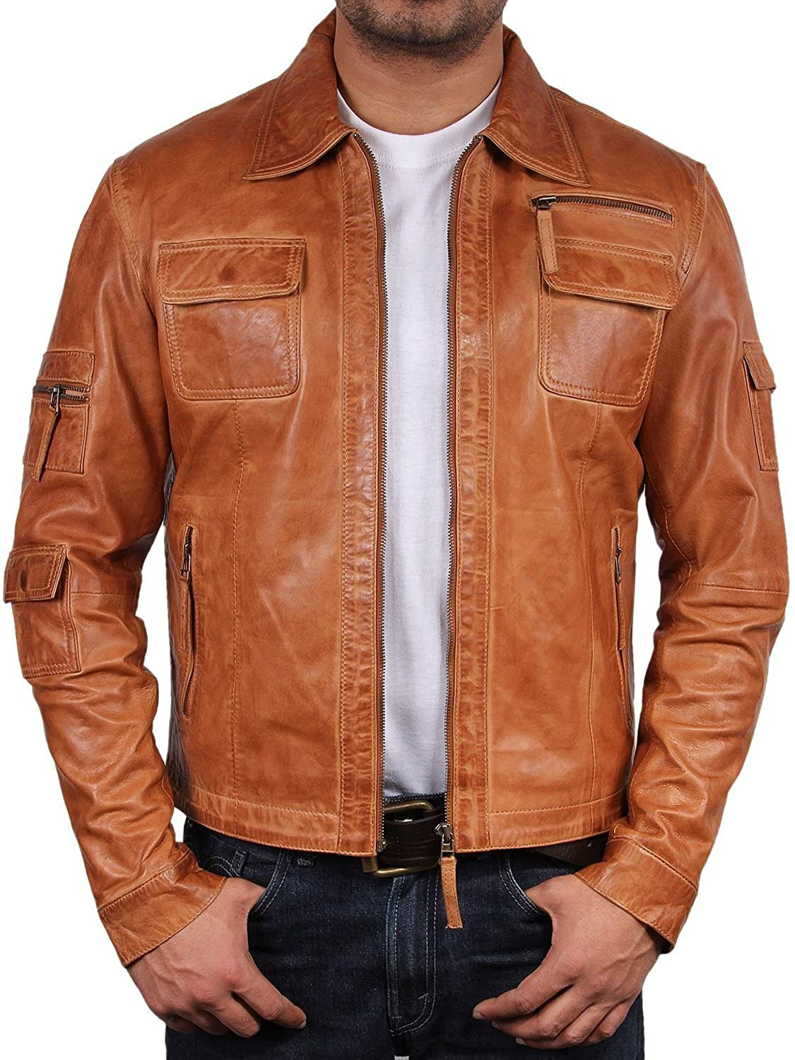 UK Vintage Men's Leather Biker Jacket Tan Real Leather Motor Biker ...