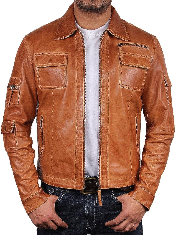 UK Vintage Men's Leather Biker Jacket Tan Real Leather Motor Biker ...