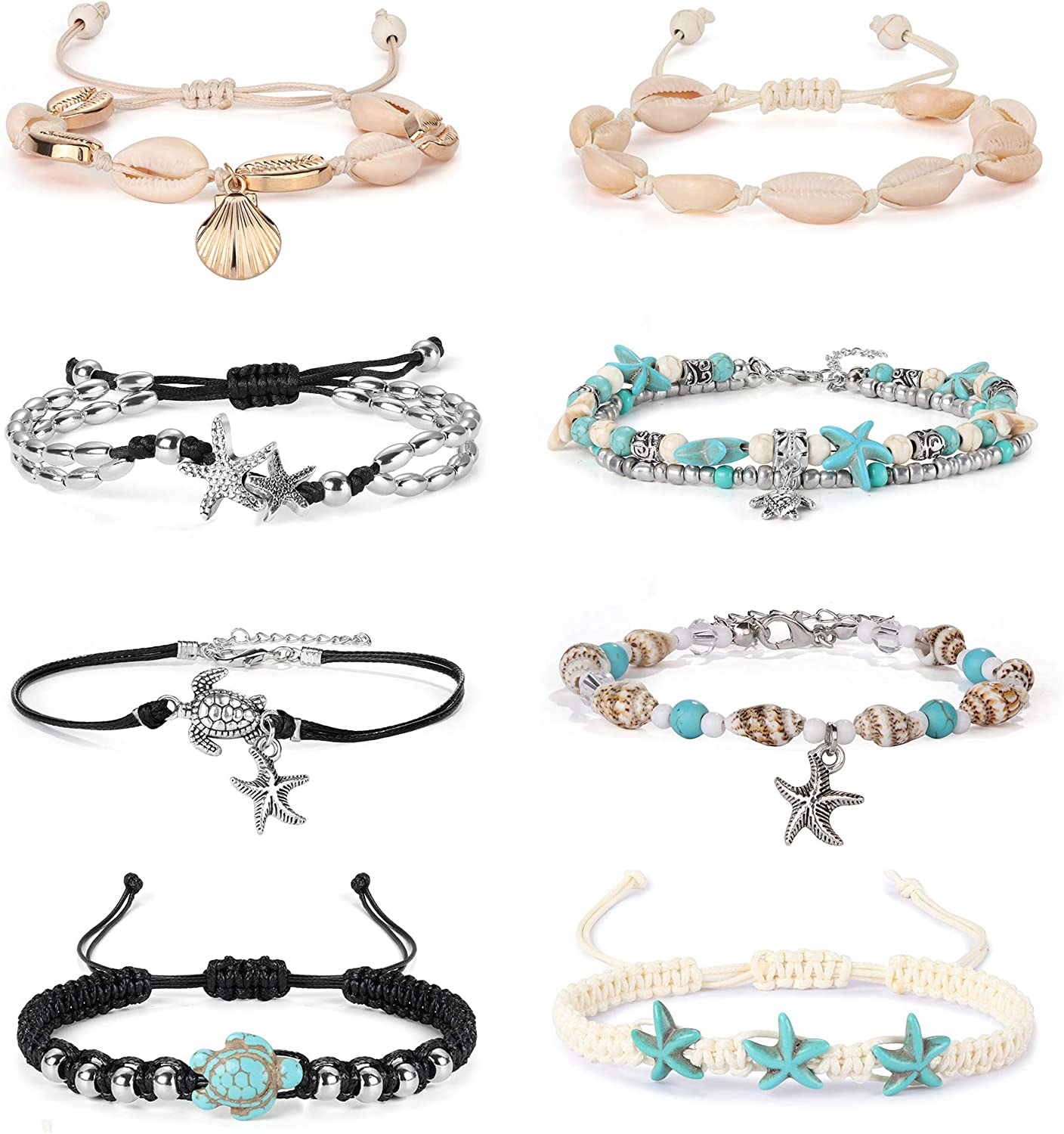 FUNRUN JEWELRY 8PCS Starfish Turtle Shell Anklet for Women Girls Handmade Multilayer Anklet Bracelet Adjustable Beach Foot Jewelry
