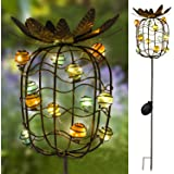 TAKEME Garden Solar Lights Outdoor,Solar Powered Stake Lights - Metal Pineapple LED Decorative Garden Lights for Walkway,Pathway,Yard,Lawn