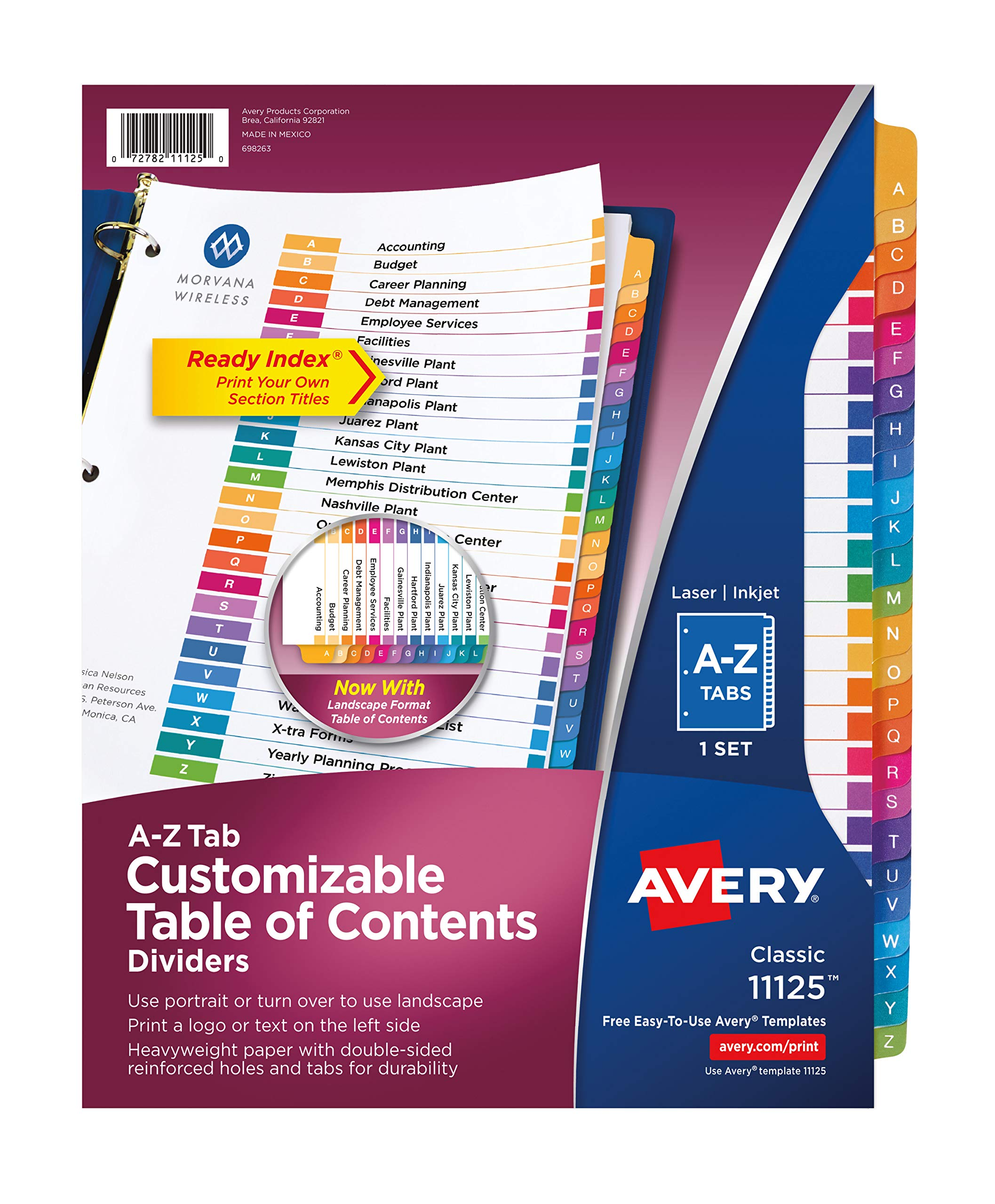 Avery Ready Index A-Z Dividers, Printable Table of Contents, Multicolor Tabs, Case Pack of 12 Sets (11125) by Avery