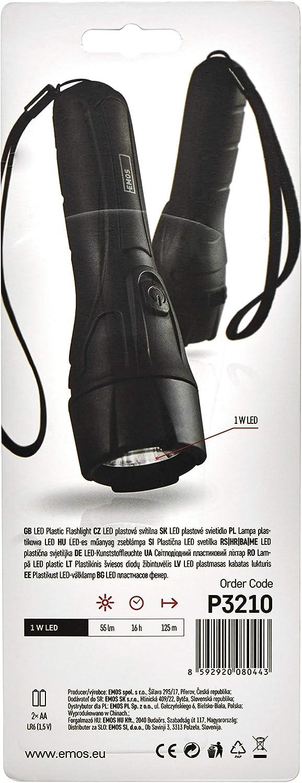 Negro pl/ástico 16 Horas de Funcionamiento Funciona con Pilas Alcance de 125 m EMOS Linterna LED Ultraligera con Correa de Mano Resistente a los Golpes con Brillo 55 LM