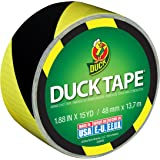 Duck Brand 283972 Printed Duct Tape, Black and Yellow Stripes, 1.88 Inches x 15 Yards, Single Roll