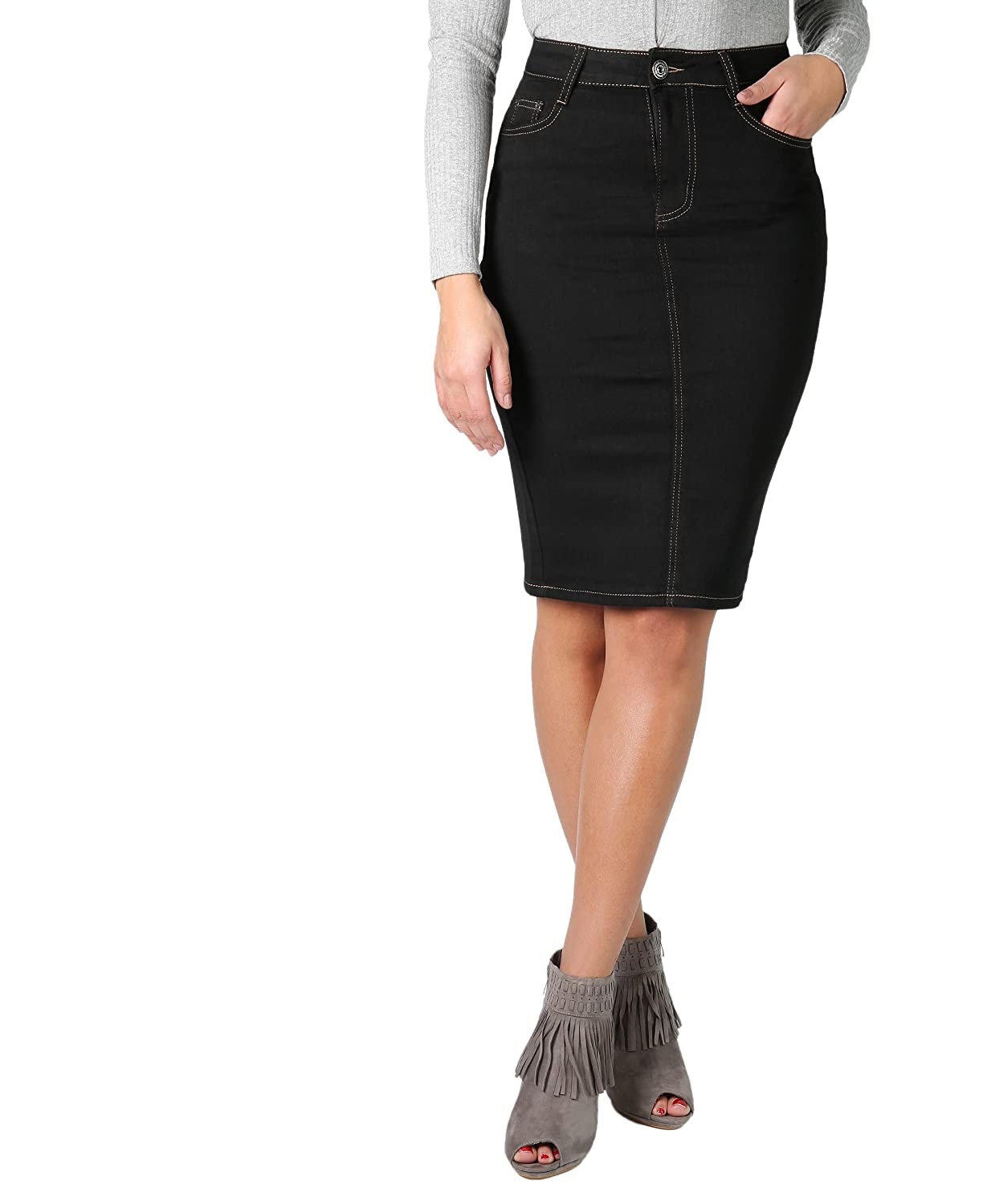 KRISP Womens Denim Pencil Pull On Fitted Stretch Waistband Midi Knee Skirt Plus Size 2117 2118
