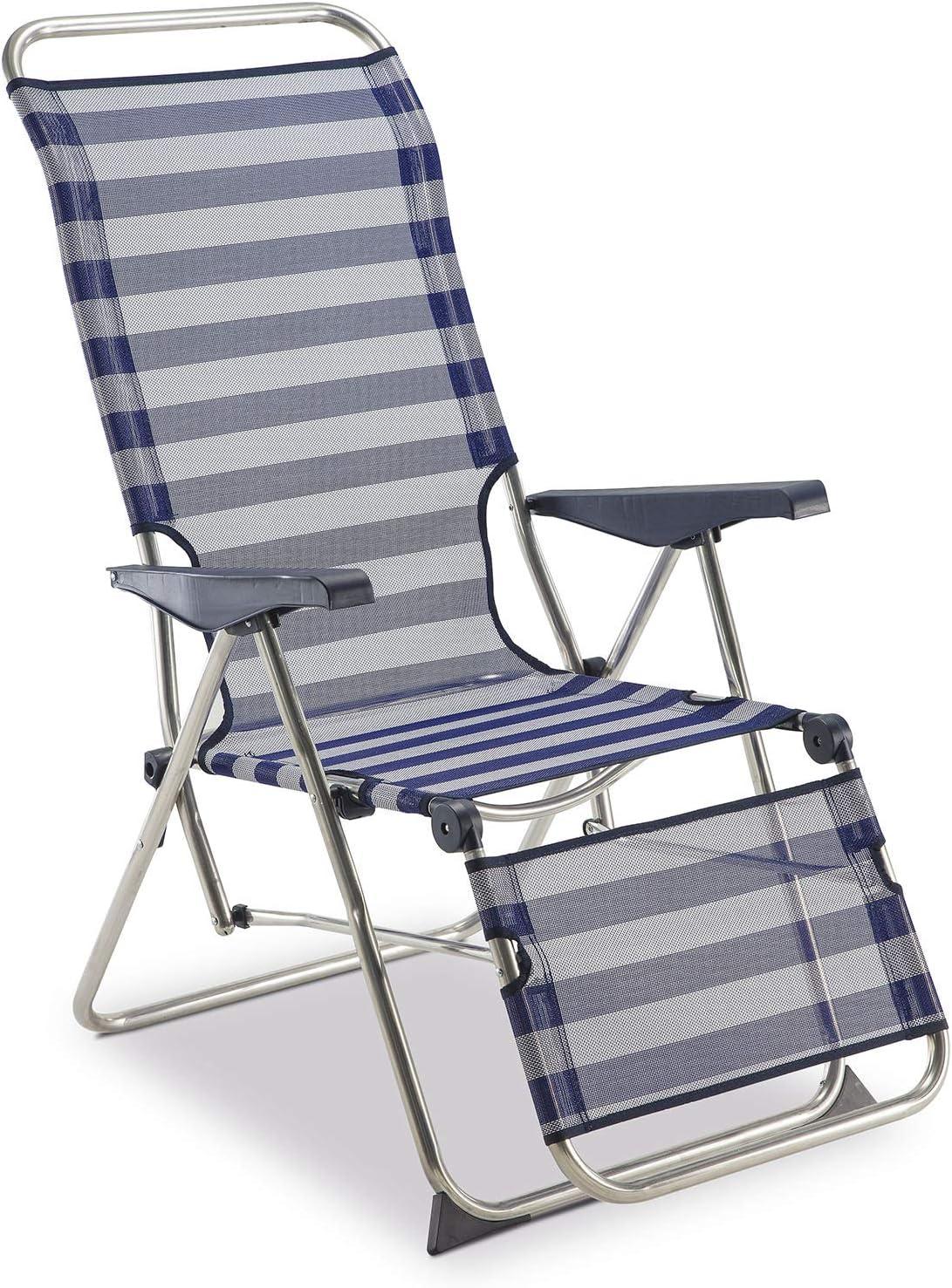Solenny 50001072735205 - Tumbona Relax 5 Posciones con Respaldo Anatómico Azul y Blanco