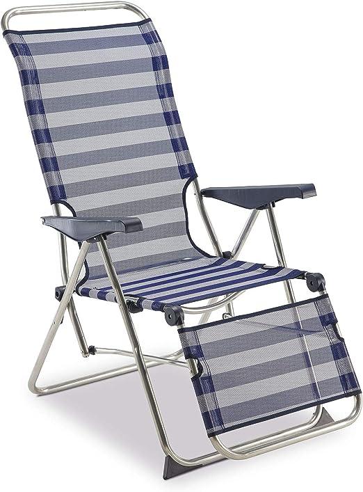 Oferta amazon: SOLENNY 50001072735205 - Sillón Regulable de Jardín Relax 5 Posiciones con Respaldo Anatómico Azul
