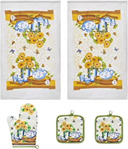 URED 5pcs Sunflowers Kitchen Decor,Kitchen Towels and Dishcloths Sets,Farmhouse Kitchen Decor,Professional Dish Towels for Drying Dishes £¬Kitchen Essentials for New Home Dish Towels£¬