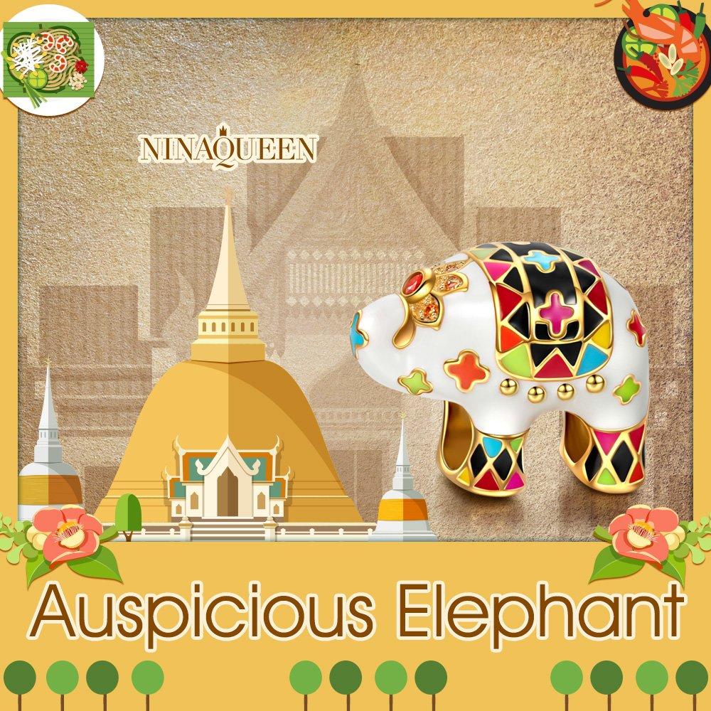 con Caja de Regalo NINAQUEEN/® Abalorios Charm Elefante /¡Elecci/ón Navidad! Esmalte Pero Suave Plata de Ley 925 Potente