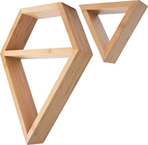 Geometric Shelves Set Mounted Wall - Modern Bamboo Floating Shelves - Hanging Wooden Shelf for Wall Or Table Top - Decorative Wall Shelves for Living Room, Bedroom, Bathroom or Office