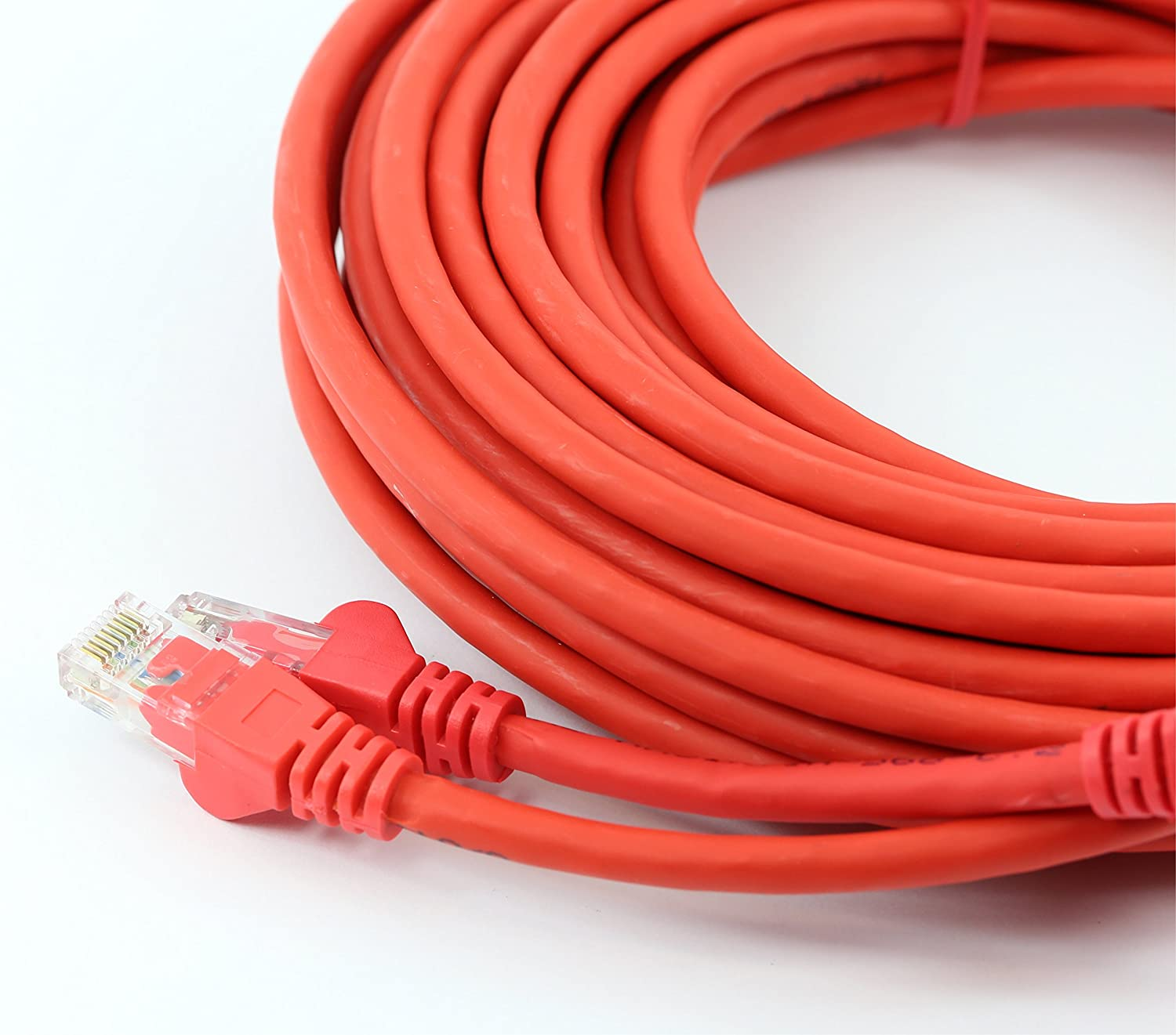 rhinocables Cat 5e Cat5e Ethernet RJ45 High Speed Network Cable Internet Fast Speed Lead 6ft 7in, Red
