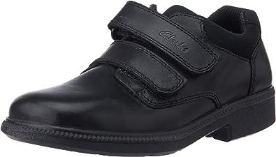 Boys Clarks Deaton Black Leather Double  Smart School Shoes