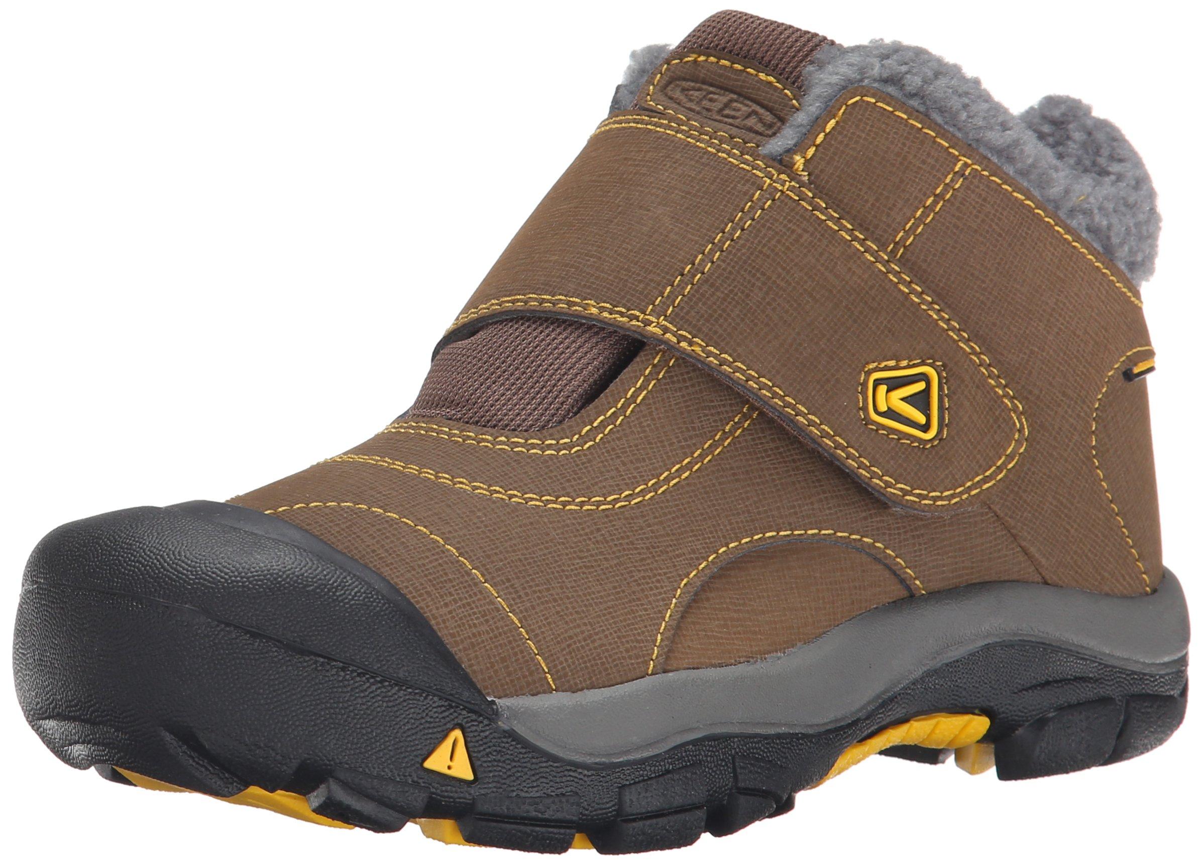 KEEN Kootenay Waterproof Winter Boot (Little Kid/Big Kid), Dark Earth/Spectra Yellow, 4 M US Big Kid