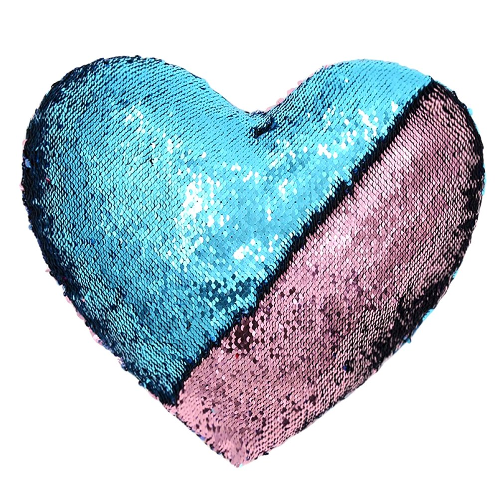 Heart Shape Sequin Pillow with Insert Mermaid Reversible Color Change Throw Shiny Two Color Flip Cushion Magic Write On Girls Gift Bolster for Sofa Couch Bedroom Car 14'' x 15.5'',Blue and Pink by URSKYTOUS (Image #8)