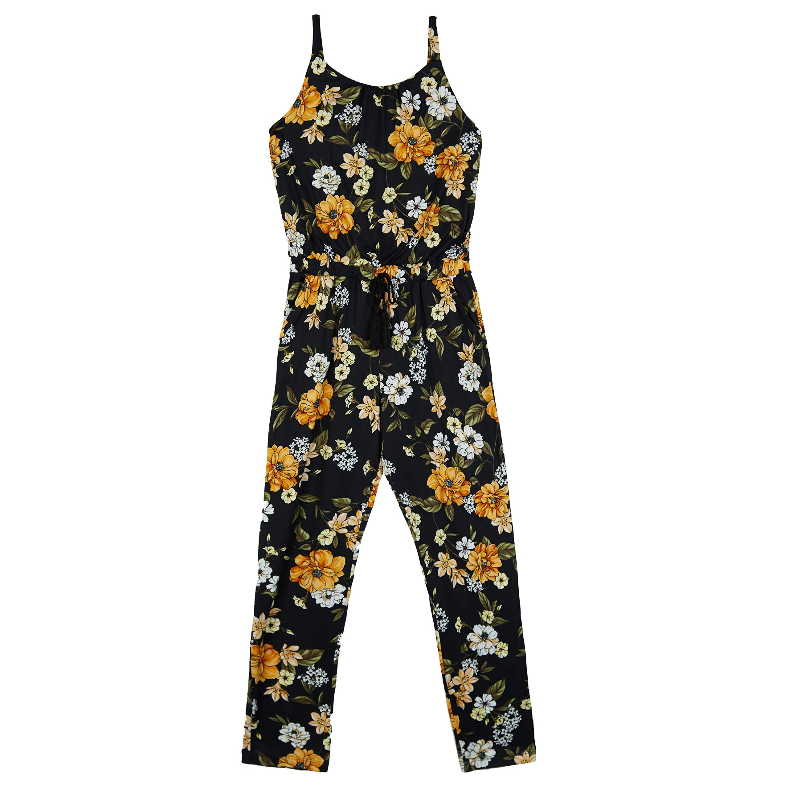 Amy Byer Girls' Big Sleeveless Scoop Neck Jumpsuit, Black/Gold Marigold Bouquet, M by Amy Byer