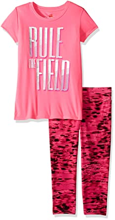 32e26268b0a51 Hanes Girls' Big Sport Performance Tee & Capri Set, El Rule The Field Capri