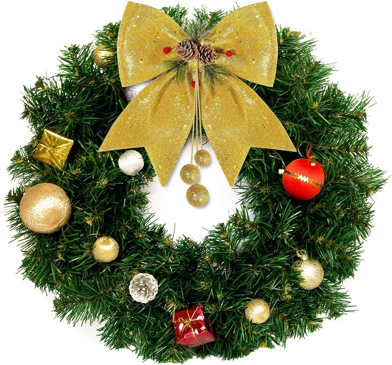 4 Medium Gold and Ivory Wired Bows-Gold Ivory Christmas Tree Bows-Gold Holiday Bows-6 Yards Ivory Holiday Ribbon-Wreath BowsRibbon Combo