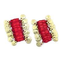 Belly Dance Bijoux Bracelets Chaîne Bracelet Pair avec pièces dorées (Paire) neuf