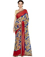 Oomph! Women's Printed Georgette Sarees - Lapis Blue