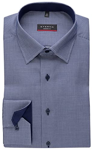 eterna Modern Fit Hemd Langarm Under Button Down Kragen Muster blau