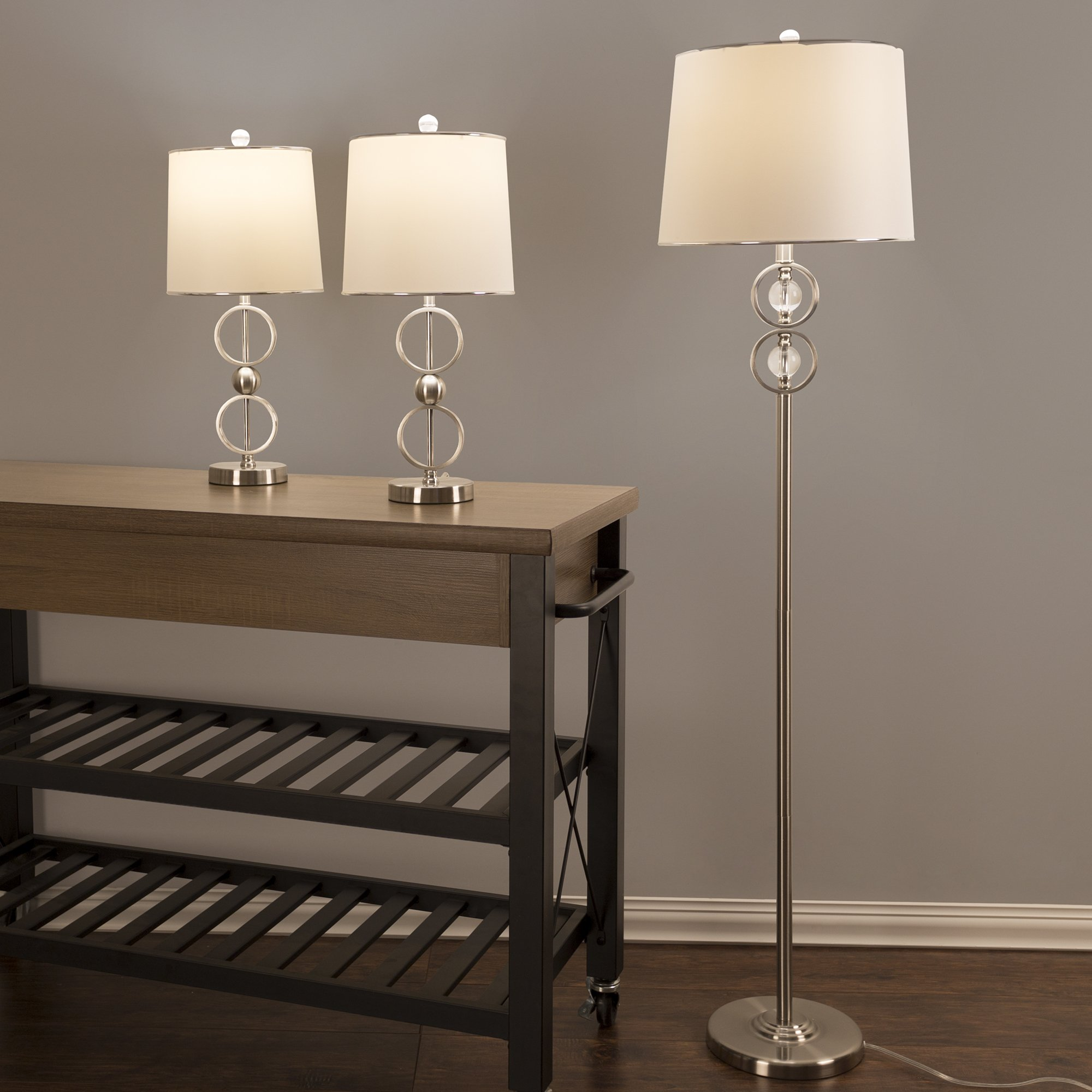Table lamp and floor lamp set of 3 modern brushed steel - Modern table lamps for living room ...